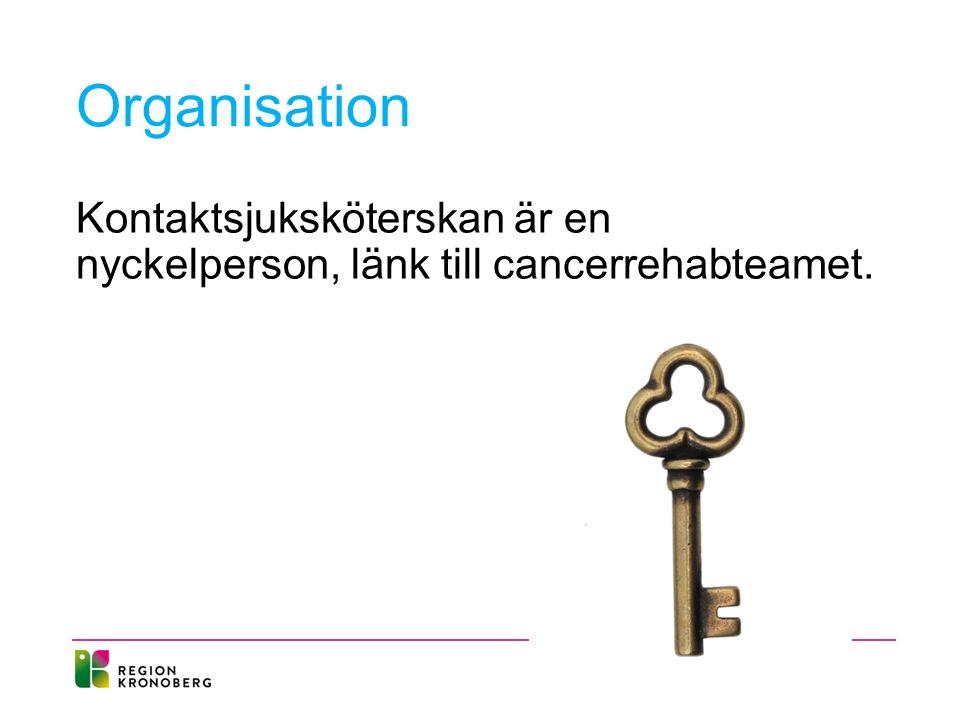 Organisation Kontaktsjuksköterskan är en nyckelperson, länk till cancerrehabteamet.