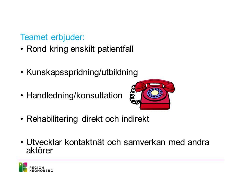 Teamet erbjuder: Rond kring enskilt patientfall Kunskapsspridning/utbildning Handledning/konsultation Rehabilitering direkt och indirekt Utvecklar kontaktnät och samverkan med andra aktörer