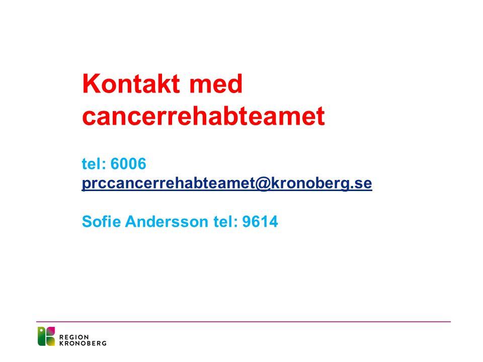 Kontakt med cancerrehabteamet tel: 6006 prccancerrehabteamet@kronoberg.se prccancerrehabteamet@kronoberg.se Sofie Andersson tel: 9614