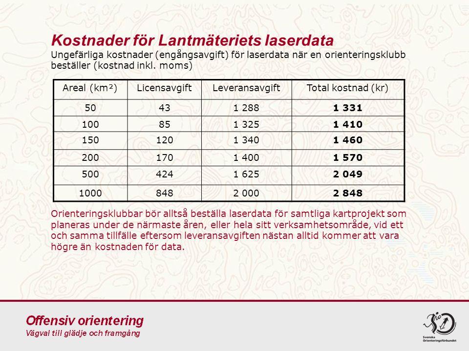 2016-09-24 50 Kostnader för Lantmäteriets ortofoton Ungefärlig kostnad för ortofoto i färg, alternativt IRF, med 0,5 m upplösning när en orienteringsklubb beställer (kostnad inkl.