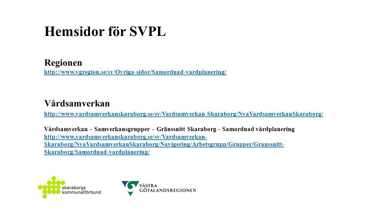 Hemsidor för SVPL Regionen http://www.vgregion.se/sv/Ovriga-sidor/Samordnad-vardplanering/ Vårdsamverkan http://www.vardsamverkanskaraborg.se/sv/Vardsamverkan-Skaraborg/NyaVardsamverkanSkaraborg/ Vårdsamverkan – Samverkansgrupper – Gränssnitt Skaraborg – Samordnad vårdplanering http://www.vardsamverkanskaraborg.se/sv/Vardsamverkan- Skaraborg/NyaVardsamverkanSkaraborg/Navigering/Arbetsgrupp/Grupper/Granssnitt- Skaraborg/Samordnad-vardplanering/