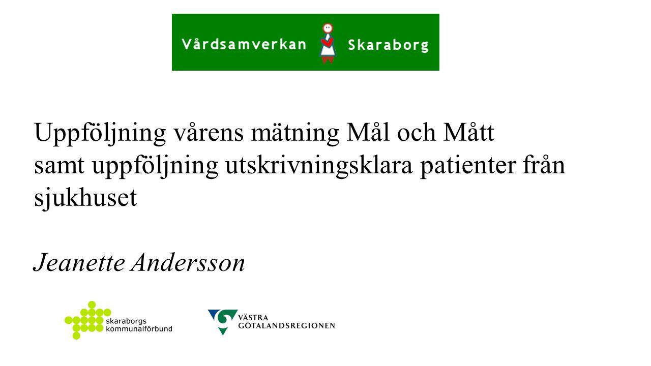Uppföljning vårens mätning Mål och Mått samt uppföljning utskrivningsklara patienter från sjukhuset Jeanette Andersson