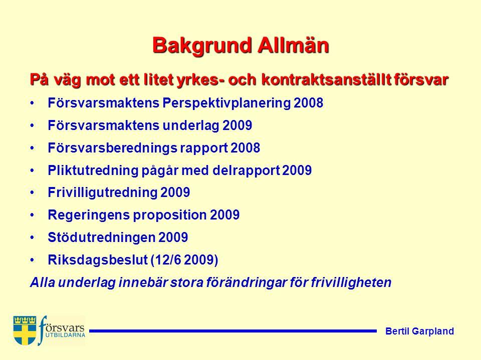 Bertil Garpland Vad har hänt hittills.