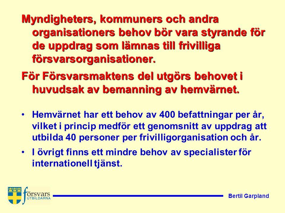 Bertil Garpland Regeringen avser att se över de författningar som reglerar den frivilliga försvarsverksamheten.