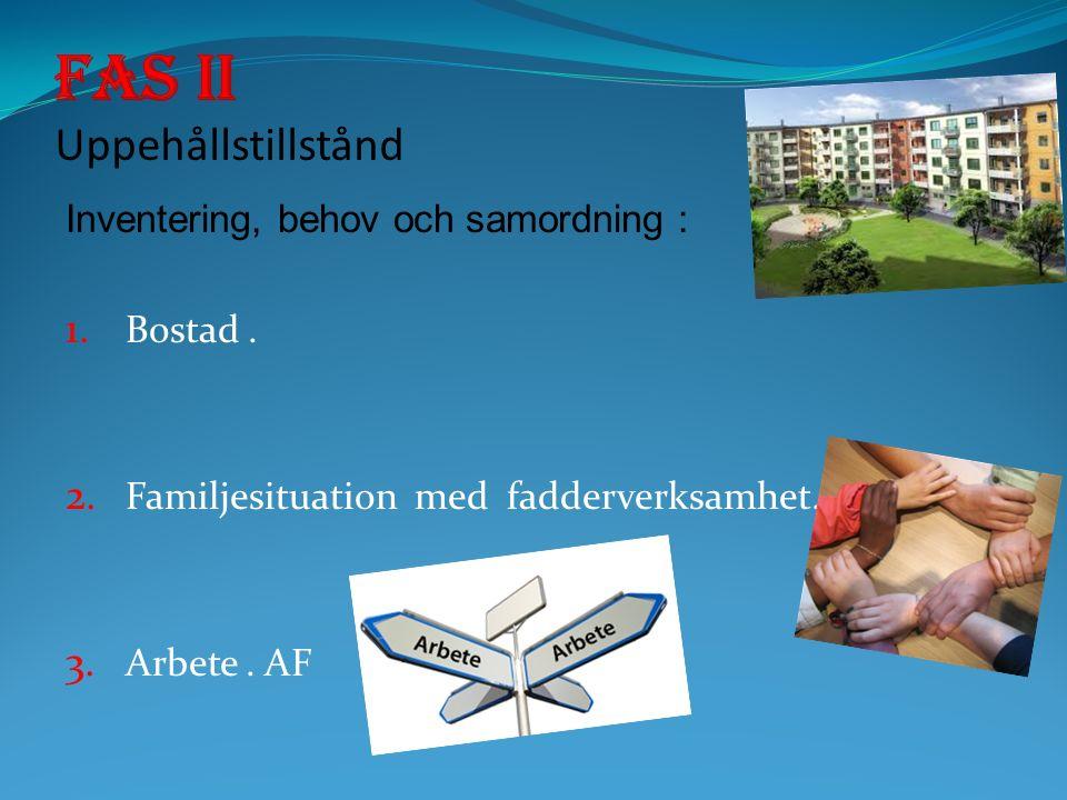 Inventering, behov och samordning : 1. Bostad. 2. Familjesituation med fadderverksamhet. 3. Arbete. AF