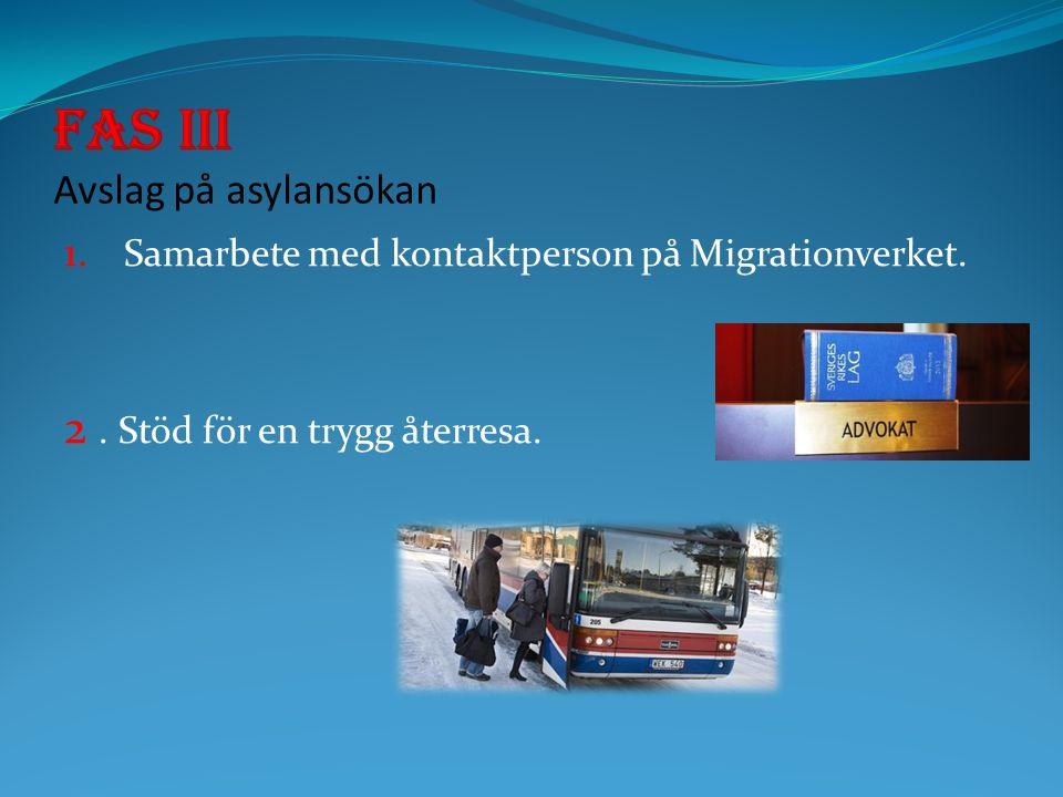 1. Samarbete med kontaktperson på Migrationverket. 2. Stöd för en trygg återresa.