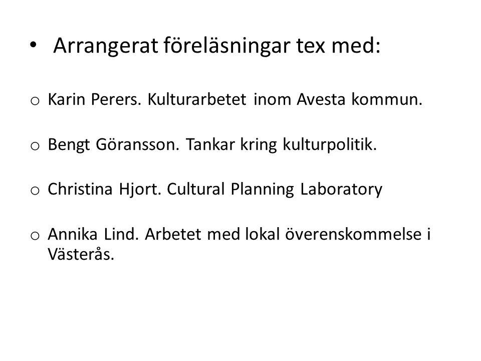 Arrangerat föreläsningar tex med: o Karin Perers. Kulturarbetet inom Avesta kommun.