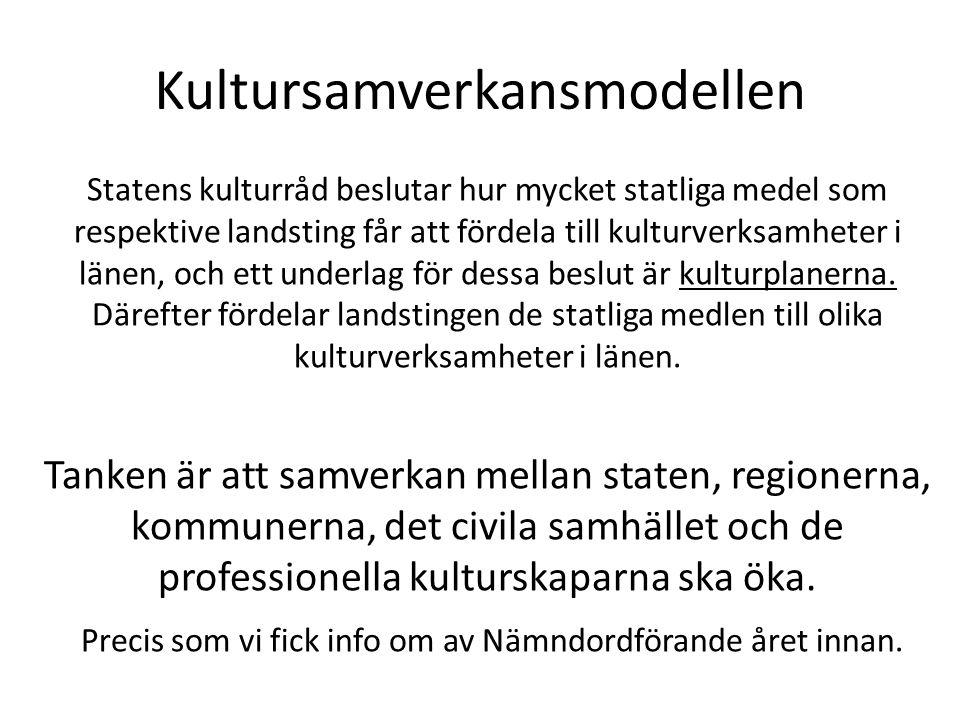 Kultursamverkansmodellen Statens kulturråd beslutar hur mycket statliga medel som respektive landsting får att fördela till kulturverksamheter i länen, och ett underlag för dessa beslut är kulturplanerna.