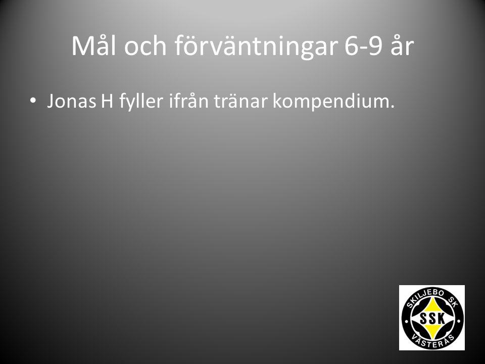 Mål och förväntningar 6-9 år Jonas H fyller ifrån tränar kompendium.