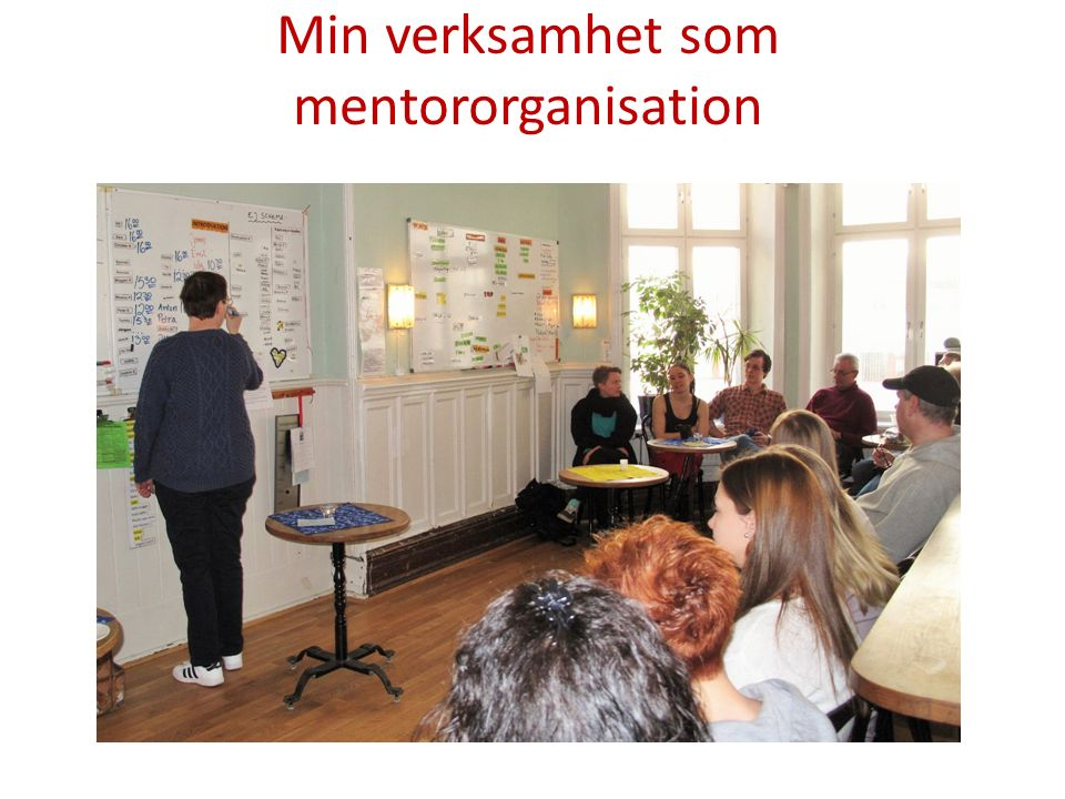Att vara mentororganisation Associationer till betydelsen av mentor Ledare Föreläsare Hjälp-stöd-stöttning Rådgivning Kunskapsutbyte Erfarenhetsutbyte Bollplank Förebild
