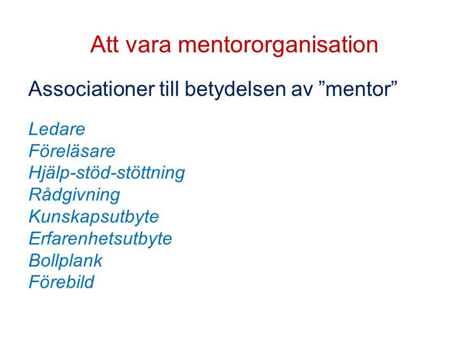 """Att vara mentororganisation Associationer till betydelsen av """"mentor"""" Ledare Föreläsare Hjälp-stöd-stöttning Rådgivning Kunskapsutbyte Erfarenhetsutby"""