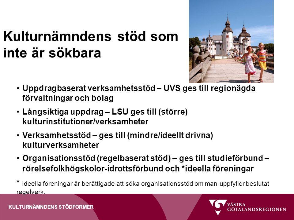 Kulturnämndens stöd som inte är sökbara Uppdragbaserat verksamhetsstöd – UVS ges till regionägda förvaltningar och bolag Långsiktiga uppdrag – LSU ges