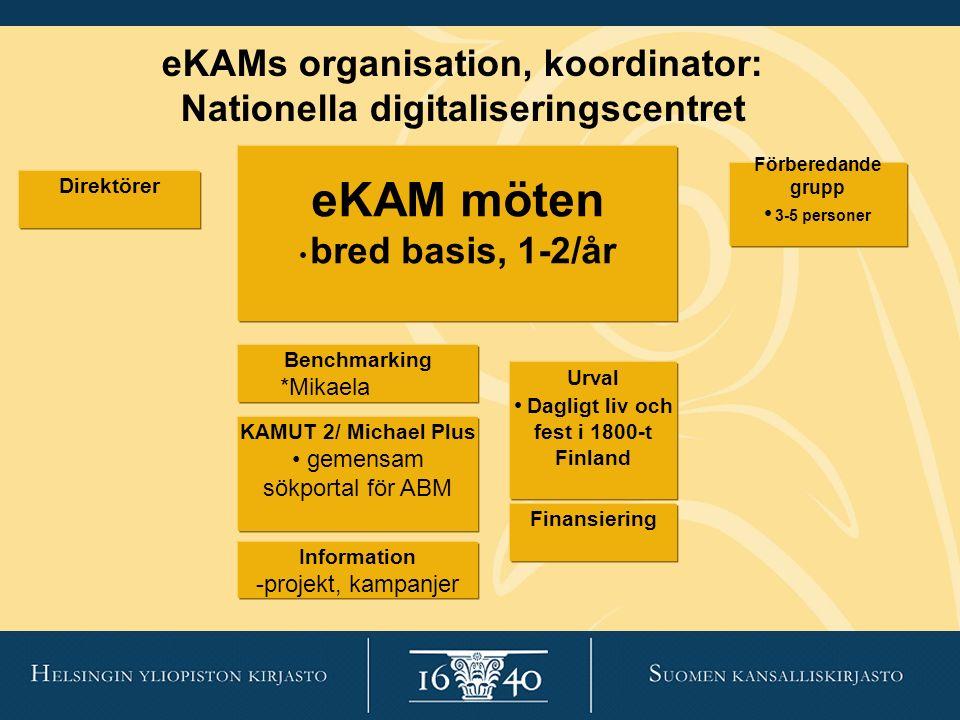 eKAM möten bred basis, 1-2/år Förberedande grupp 3-5 personer Urval Dagligt liv och fest i 1800-t Finland Finansiering KAMUT 2/ Michael Plus gemensam
