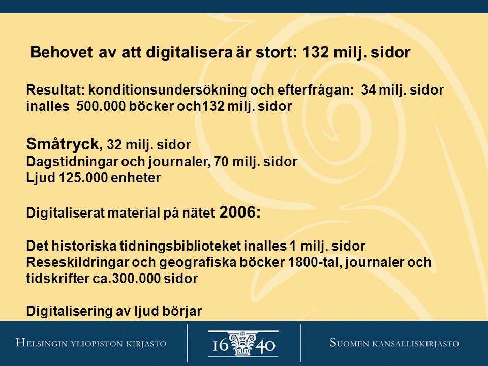 Behovet av att digitalisera är stort: 132 milj. sidor Resultat: konditionsundersökning och efterfrågan: 34 milj. sidor inalles 500.000 böcker och132 m