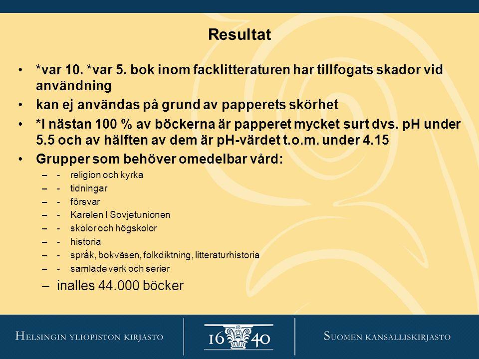 Resultat *var 10. *var 5. bok inom facklitteraturen har tillfogats skador vid användning kan ej användas på grund av papperets skörhet *I nästan 100 %
