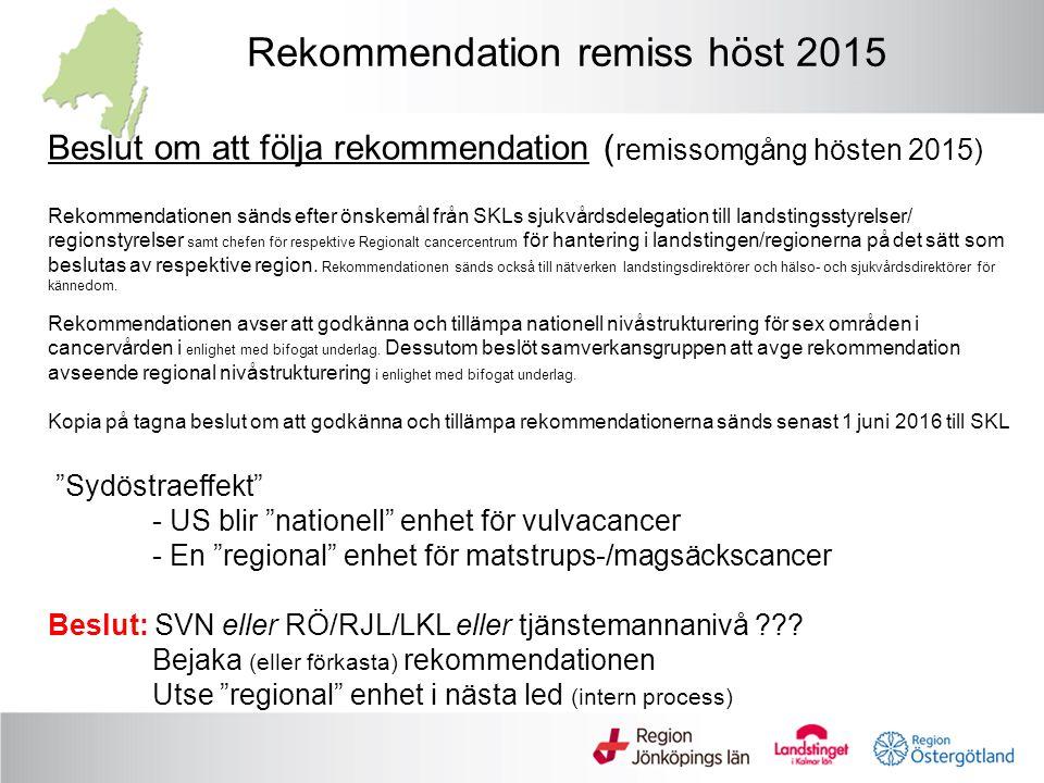 Nivåstrukturering - Intern sjukvårdsregional process RCC/RSL Sydöstra VT 2016 Regional enhet Nationell process Regional enhet Lokal process Volym total RÖRJLLKLanm Njurcancer – kirurgisk behandling Nationellt process öppnar för fler enheter inom sjukvårdsregion med höga volymer 1 (tromb i vena cava) X enheter Volymgräns >50 1-3Ca 820 Ca 150 (SÖ-reg) 65 (1 enhet men på 2 geografiska orter) 48 (1 enhet) 36 (2 enheter) Njurcancerregister 2014 Cystektomi vid urinblåsecancer 1 1-3Ca 440 Ca 50-55 (SÖ-reg) 26 (1 enhet) 20 (1 enhet) 11 (1 enhet) Period 2012-2014 ca 60 per år med egna beräkningar.