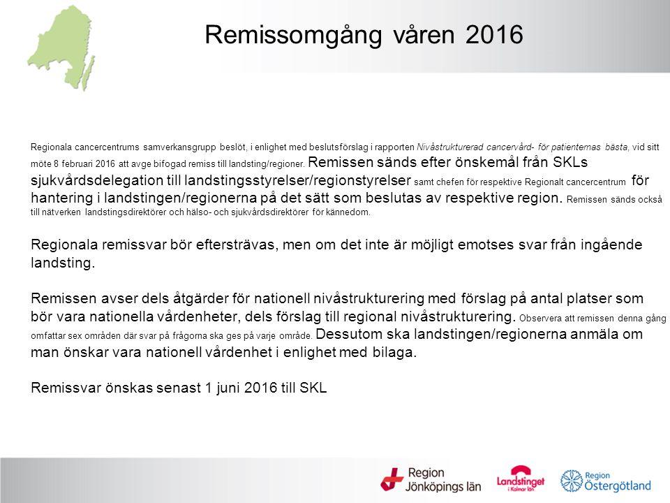 Beslut om att följa rekommendation ( remissomgång hösten 2015) Rekommendationen sänds efter önskemål från SKLs sjukvårdsdelegation till landstingsstyrelser/ regionstyrelser samt chefen för respektive Regionalt cancercentrum för hantering i landstingen/regionerna på det sätt som beslutas av respektive region.