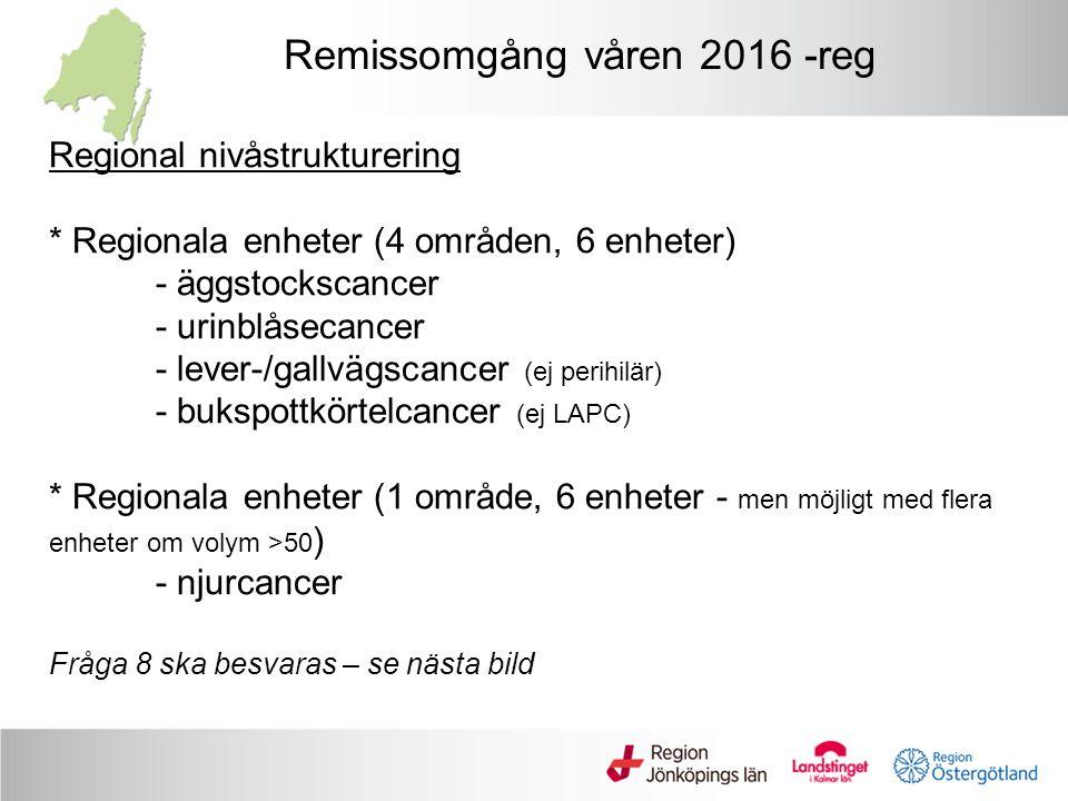 Nationell nivåstrukturering * Nationella enheter (3 områden, 2 enheter) - Lymfkörtelutrymning testikelcancerca 40/år - LAPC (vid bukspottkörtelcancer) ca 40/år - Perihilär (vid levercancer) ca 20/år * Fråga 1-7 enligt mall för varje område * Eventuell US-ansökan (eller annan enhet i sjukvårdsregionen) Remissomgång våren 2016 - nat