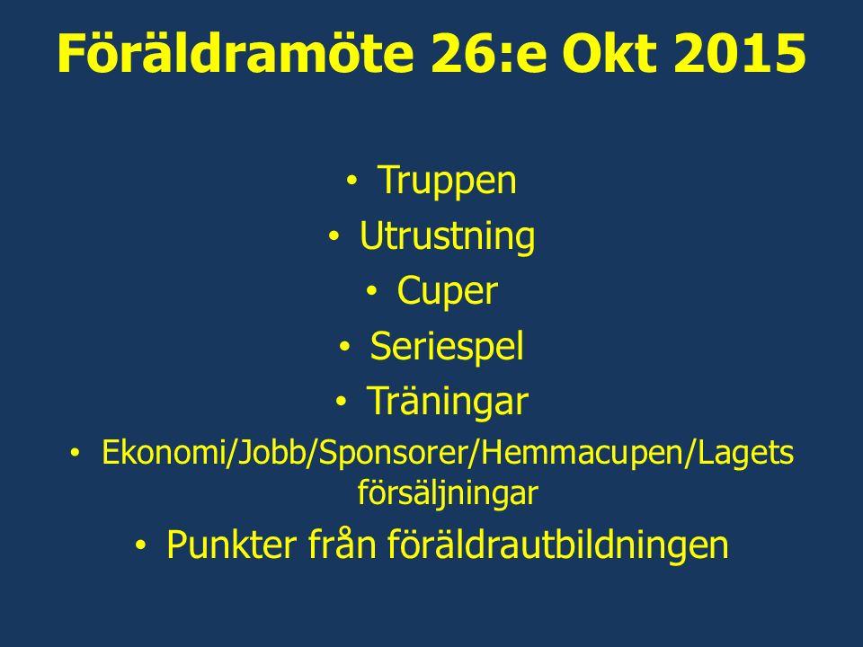 Föräldramöte 26:e Okt 2015 Truppen Utrustning Cuper Seriespel Träningar Ekonomi/Jobb/Sponsorer/Hemmacupen/Lagets försäljningar Punkter från föräldrautbildningen