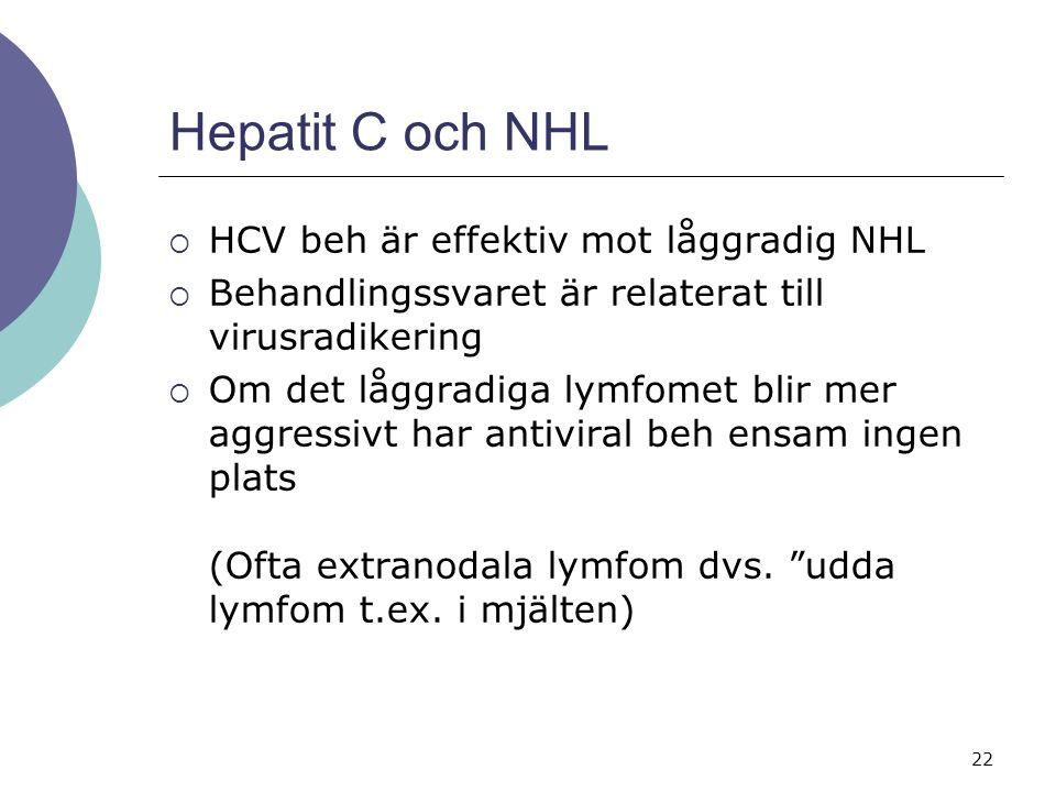 22 Hepatit C och NHL  HCV beh är effektiv mot låggradig NHL  Behandlingssvaret är relaterat till virusradikering  Om det låggradiga lymfomet blir mer aggressivt har antiviral beh ensam ingen plats (Ofta extranodala lymfom dvs.