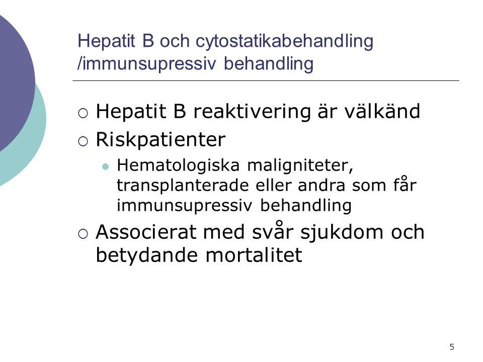 5 Hepatit B och cytostatikabehandling /immunsupressiv behandling  Hepatit B reaktivering är välkänd  Riskpatienter Hematologiska maligniteter, transplanterade eller andra som får immunsupressiv behandling  Associerat med svår sjukdom och betydande mortalitet