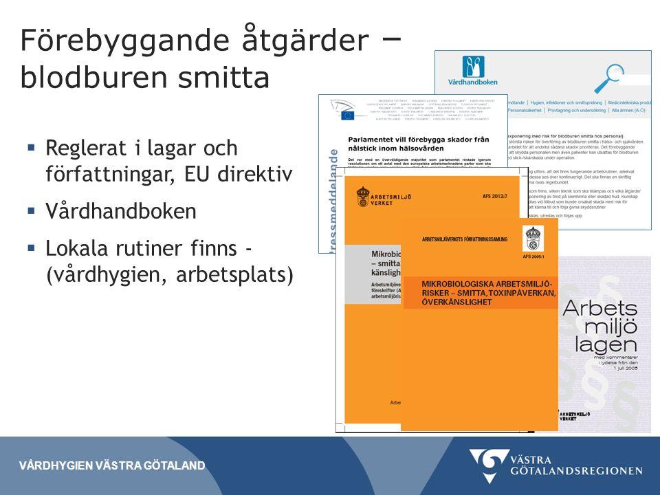 Förebyggande åtgärder – blodburen smitta  Reglerat i lagar och författningar, EU direktiv  Vårdhandboken  Lokala rutiner finns - (vårdhygien, arbetsplats) VÅRDHYGIEN VÄSTRA GÖTALAND