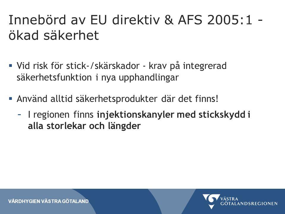 Innebörd av EU direktiv & AFS 2005:1 - ökad säkerhet VÅRDHYGIEN VÄSTRA GÖTALAND  Vid risk för stick-/skärskador - krav på integrerad säkerhetsfunktion i nya upphandlingar  Använd alltid säkerhetsprodukter där det finns.