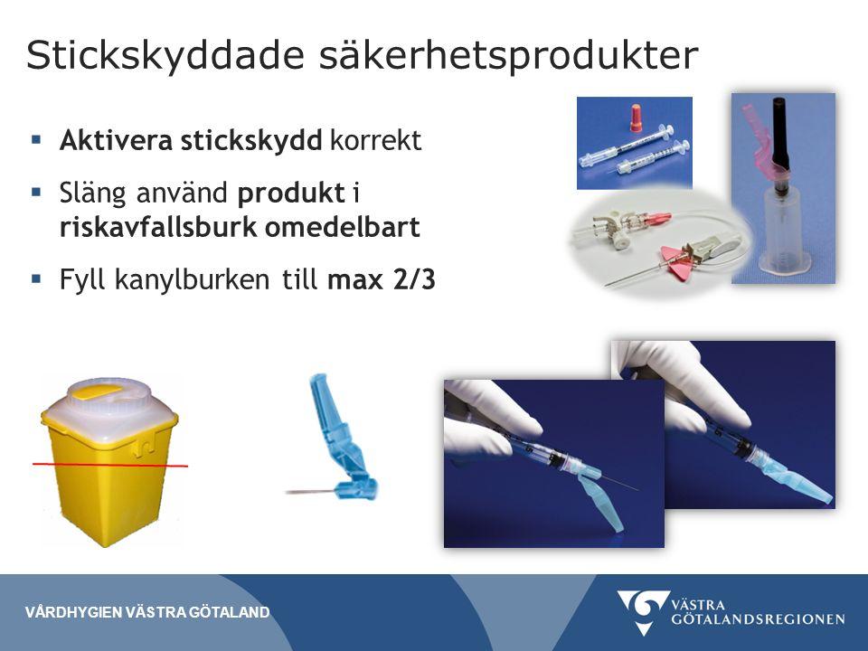 Stickskyddade säkerhetsprodukter  Aktivera stickskydd korrekt  Släng använd produkt i riskavfallsburk omedelbart  Fyll kanylburken till max 2/3 VÅRDHYGIEN VÄSTRA GÖTALAND