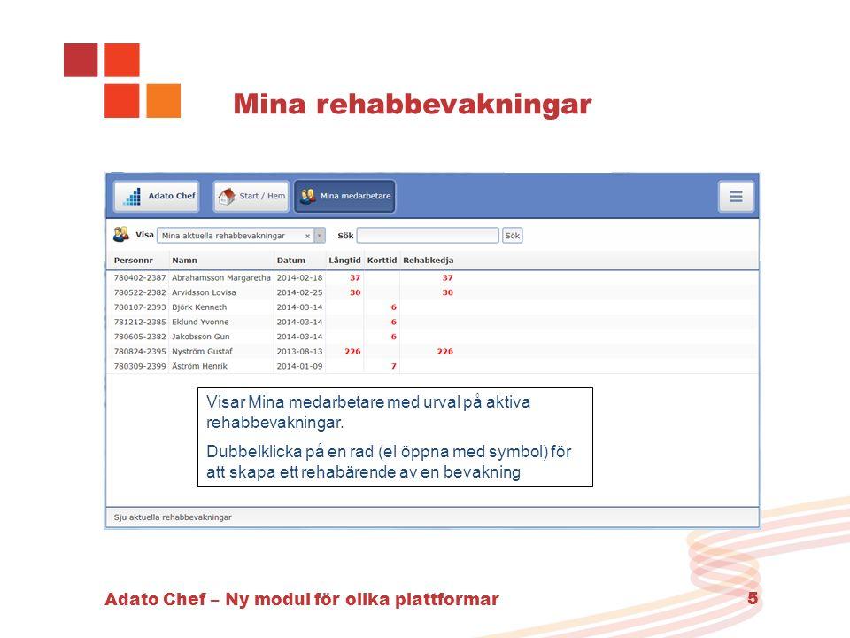 Adato Chef – Ny modul för olika plattformar 5 Mina rehabbevakningar Visar Mina medarbetare med urval på aktiva rehabbevakningar. Dubbelklicka på en ra