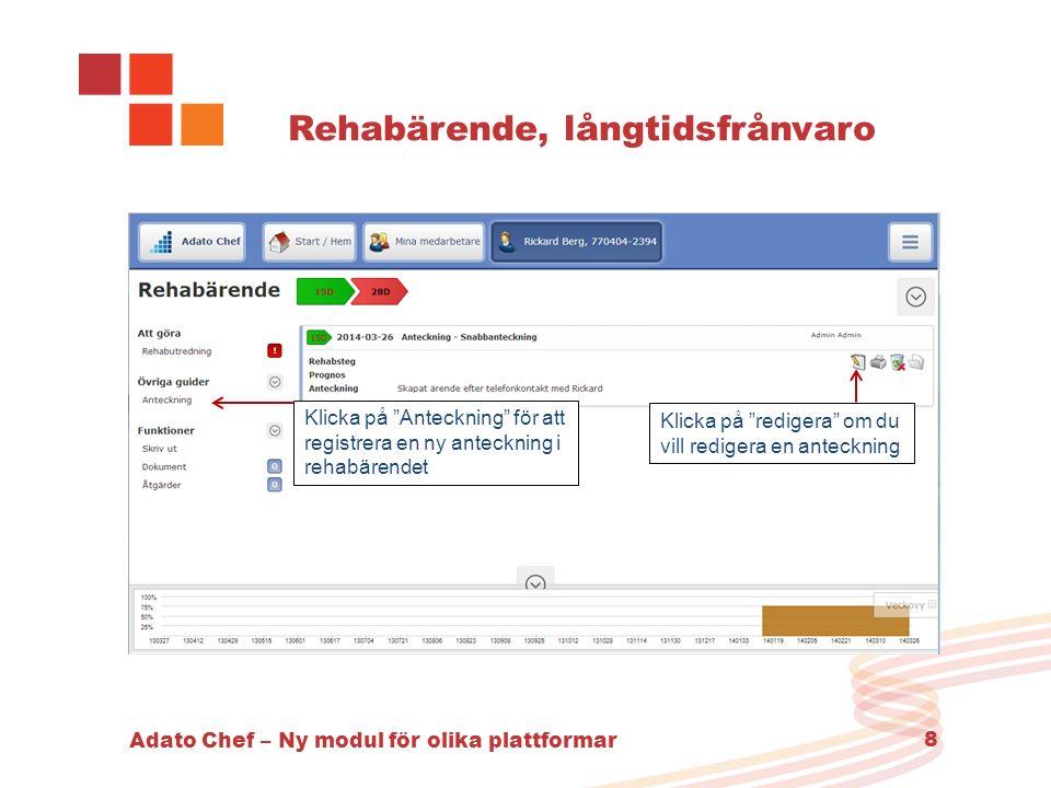 """Adato Chef – Ny modul för olika plattformar 8 Rehabärende, långtidsfrånvaro Klicka på """"redigera"""" om du vill redigera en anteckning Klicka på """"Anteckni"""