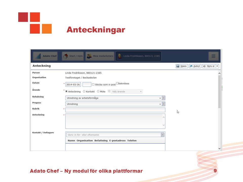 Adato Chef – Ny modul för olika plattformar 9 Anteckningar