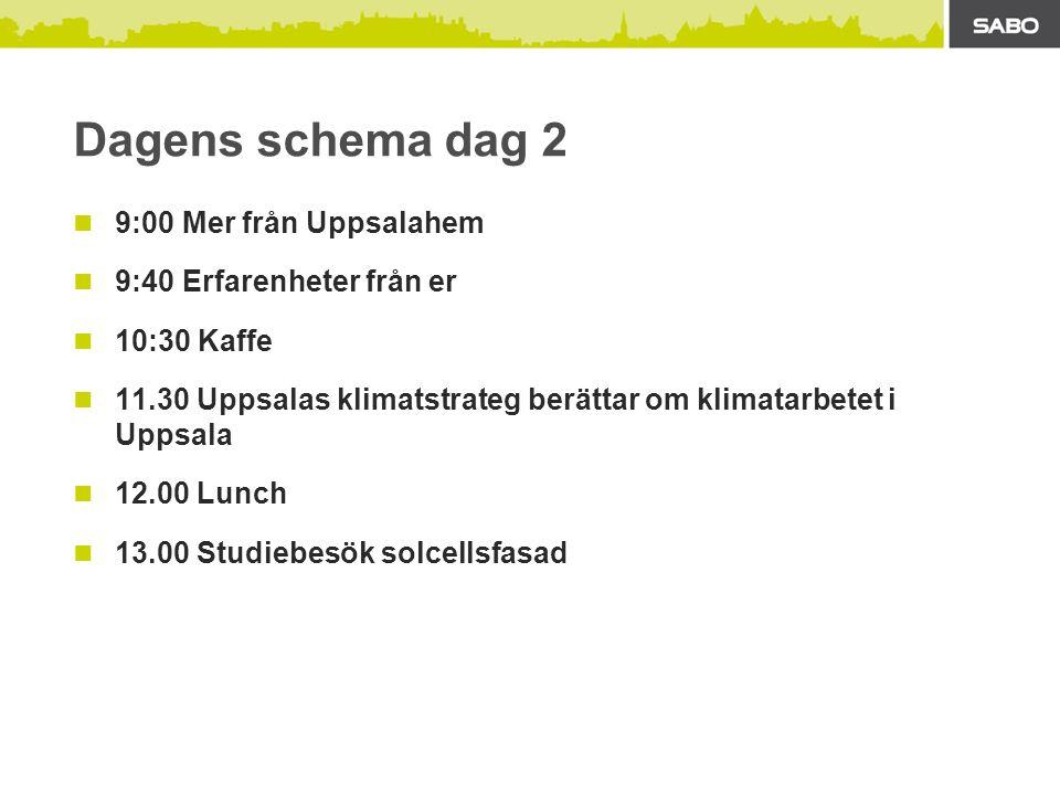 Dagens schema dag 2 9:00 Mer från Uppsalahem 9:40 Erfarenheter från er 10:30 Kaffe 11.30 Uppsalas klimatstrateg berättar om klimatarbetet i Uppsala 12.00 Lunch 13.00 Studiebesök solcellsfasad
