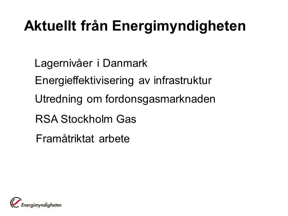 Aktuellt från Energimyndigheten Lagernivåer i Danmark Framåtriktat arbete Energieffektivisering av infrastruktur Utredning om fordonsgasmarknaden RSA Stockholm Gas