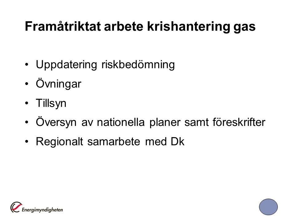 Framåtriktat arbete krishantering gas Uppdatering riskbedömning Övningar Tillsyn Översyn av nationella planer samt föreskrifter Regionalt samarbete med Dk