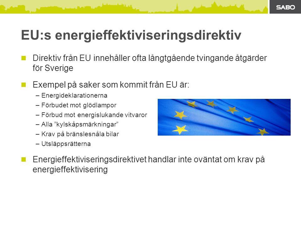 EU:s energieffektiviseringsdirektiv Direktiv från EU innehåller ofta långtgående tvingande åtgärder för Sverige Exempel på saker som kommit från EU är: –Energideklarationerna –Förbudet mot glödlampor –Förbud mot energislukande vitvaror –Alla kylskåpsmärkningar –Krav på bränslesnåla bilar –Utsläppsrätterna Energieffektiviseringsdirektivet handlar inte oväntat om krav på energieffektivisering