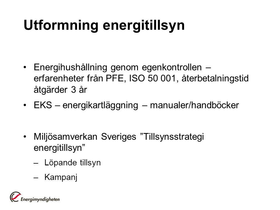 Utformning energitillsyn Energihushållning genom egenkontrollen – erfarenheter från PFE, ISO 50 001, återbetalningstid åtgärder 3 år EKS – energikartläggning – manualer/handböcker Miljösamverkan Sveriges Tillsynsstrategi energitillsyn –Löpande tillsyn –Kampanj
