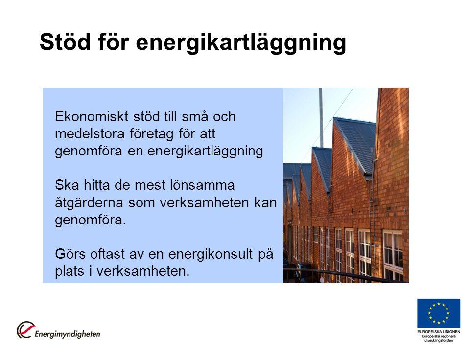 Stöd för energikartläggning Ekonomiskt stöd till små och medelstora företag för att genomföra en energikartläggning Ska hitta de mest lönsamma åtgärde