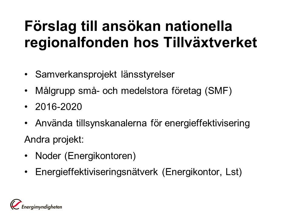 Förslag till ansökan nationella regionalfonden hos Tillväxtverket Samverkansprojekt länsstyrelser Målgrupp små- och medelstora företag (SMF) 2016-2020 Använda tillsynskanalerna för energieffektivisering Andra projekt: Noder (Energikontoren) Energieffektiviseringsnätverk (Energikontor, Lst)