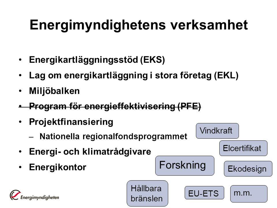 Energimyndighetens verksamhet Energikartläggningsstöd (EKS) Lag om energikartläggning i stora företag (EKL) Miljöbalken Program för energieffektiviser