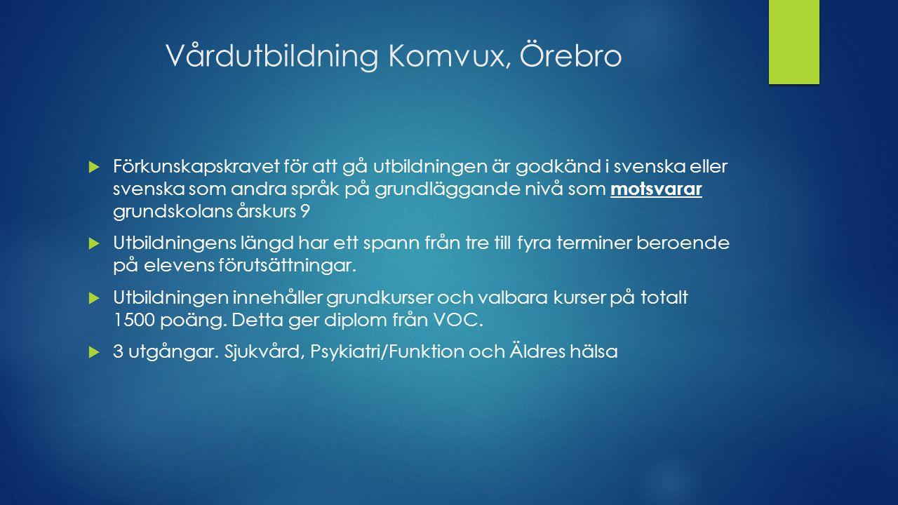 Vårdutbildning Komvux, Örebro  Förkunskapskravet för att gå utbildningen är godkänd i svenska eller svenska som andra språk på grundläggande nivå som motsvarar grundskolans årskurs 9  Utbildningens längd har ett spann från tre till fyra terminer beroende på elevens förutsättningar.