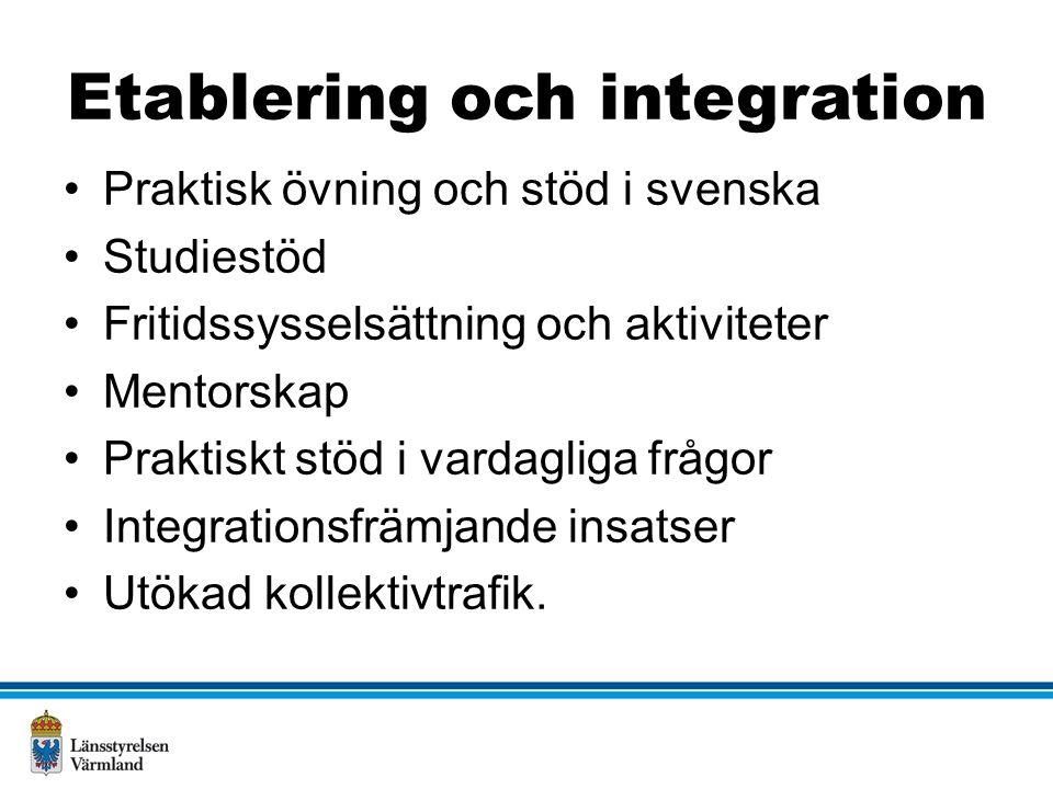 Etablering och integration Praktisk övning och stöd i svenska Studiestöd Fritidssysselsättning och aktiviteter Mentorskap Praktiskt stöd i vardagliga frågor Integrationsfrämjande insatser Utökad kollektivtrafik.