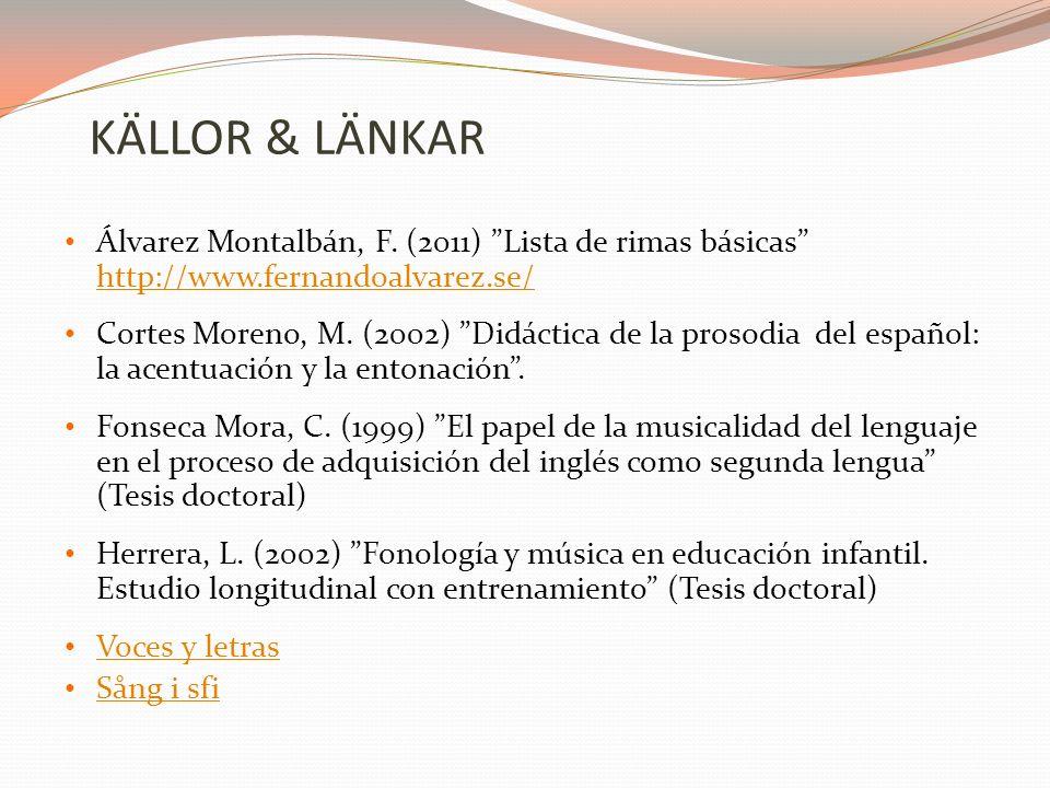 KÄLLOR & LÄNKAR Álvarez Montalbán, F.