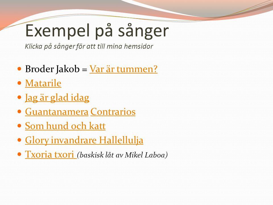 Exempel på sånger Klicka på sånger för att till mina hemsidor Broder Jakob = Var är tummen Var är tummen.