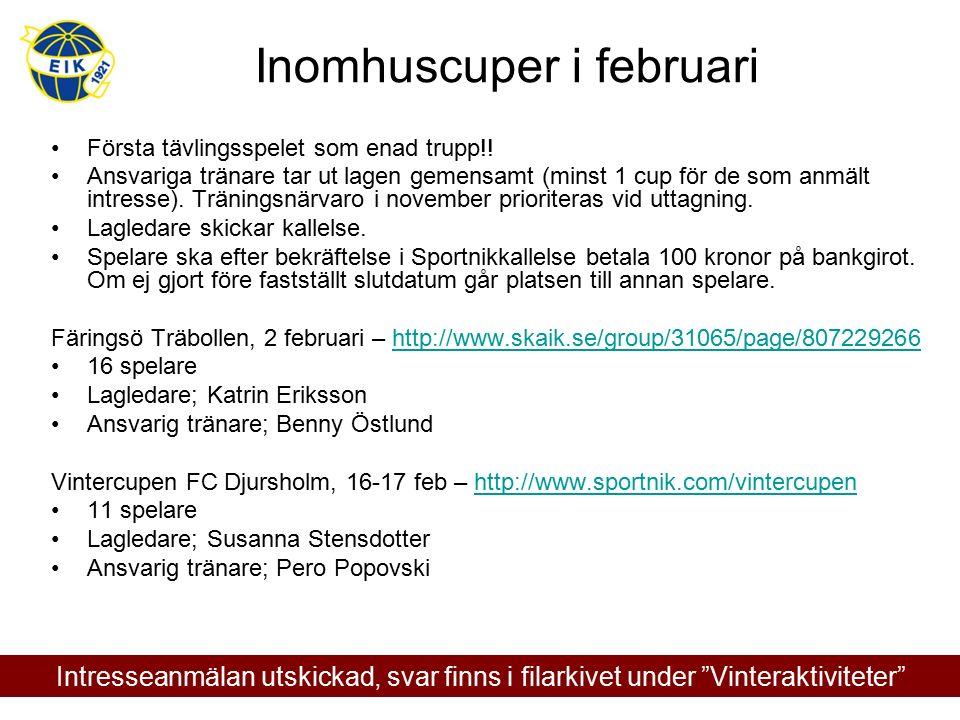 Inomhuscuper i februari Första tävlingsspelet som enad trupp!! Ansvariga tränare tar ut lagen gemensamt (minst 1 cup för de som anmält intresse). Trän