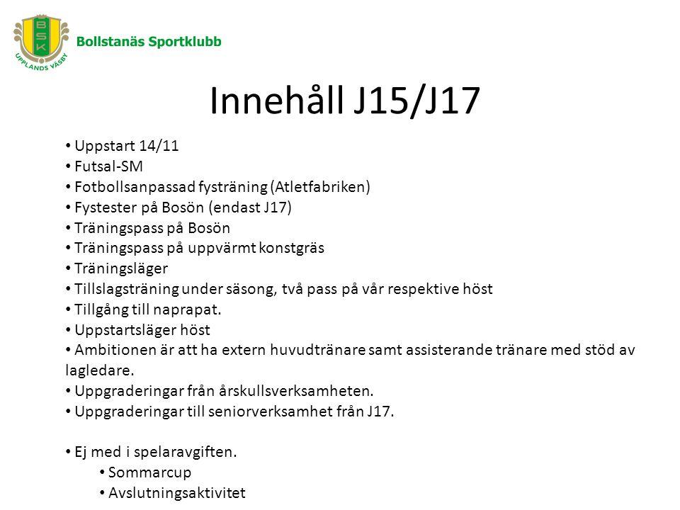 Innehåll J15/J17 Uppstart 14/11 Futsal-SM Fotbollsanpassad fysträning (Atletfabriken) Fystester på Bosön (endast J17) Träningspass på Bosön Träningspass på uppvärmt konstgräs Träningsläger Tillslagsträning under säsong, två pass på vår respektive höst Tillgång till naprapat.