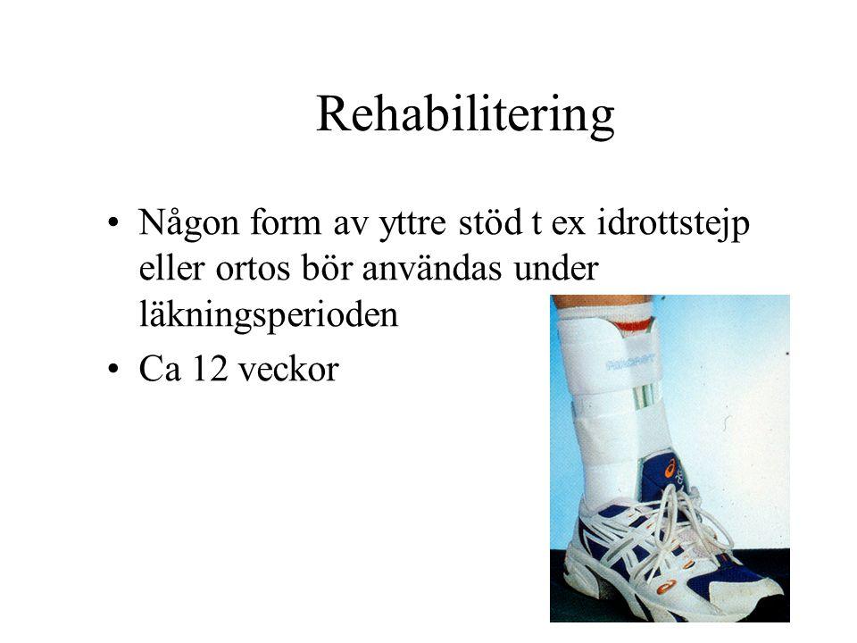 Rehabilitering Någon form av yttre stöd t ex idrottstejp eller ortos bör användas under läkningsperioden Ca 12 veckor