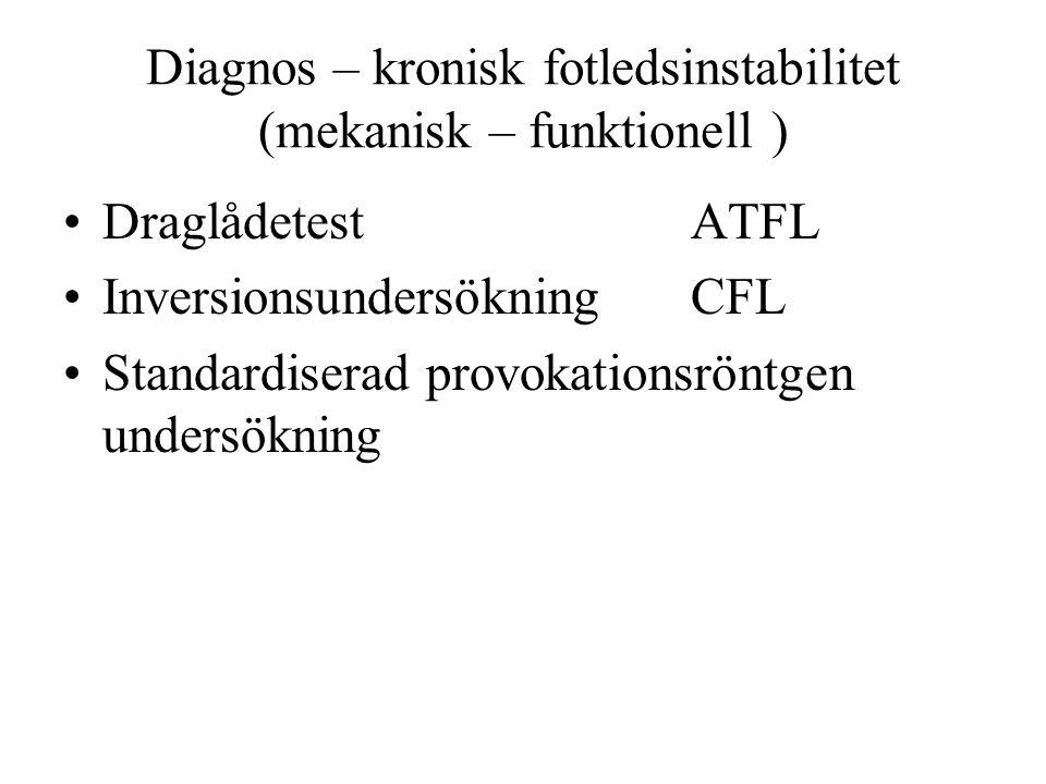 Diagnos – kronisk fotledsinstabilitet (mekanisk – funktionell ) Draglådetest ATFL InversionsundersökningCFL Standardiserad provokationsröntgen undersökning