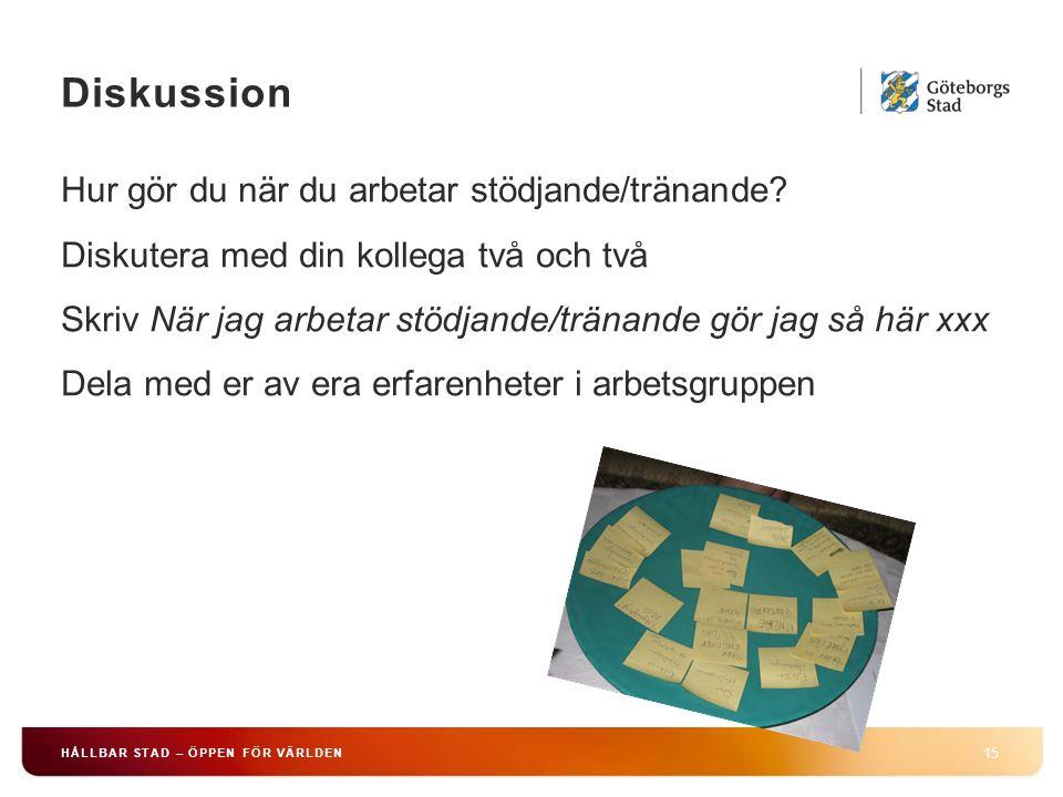 Diskussion 15 HÅLLBAR STAD – ÖPPEN FÖR VÄRLDEN Hur gör du när du arbetar stödjande/tränande.