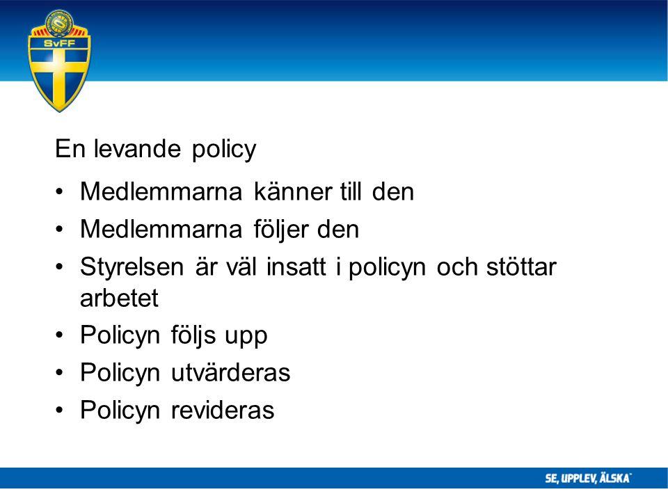 En levande policy Medlemmarna känner till den Medlemmarna följer den Styrelsen är väl insatt i policyn och stöttar arbetet Policyn följs upp Policyn utvärderas Policyn revideras