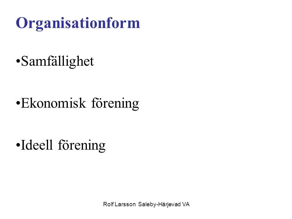 Rolf Larsson Saleby-Härjevad VA Kännetecken samfällighet; Lantmäteriförrättning - medlemskap följer fastigheten, ledningsrätt, momsen utdebiteras på medlemmen